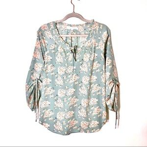 LC Lauren Conrad Sage and pink floral blouse